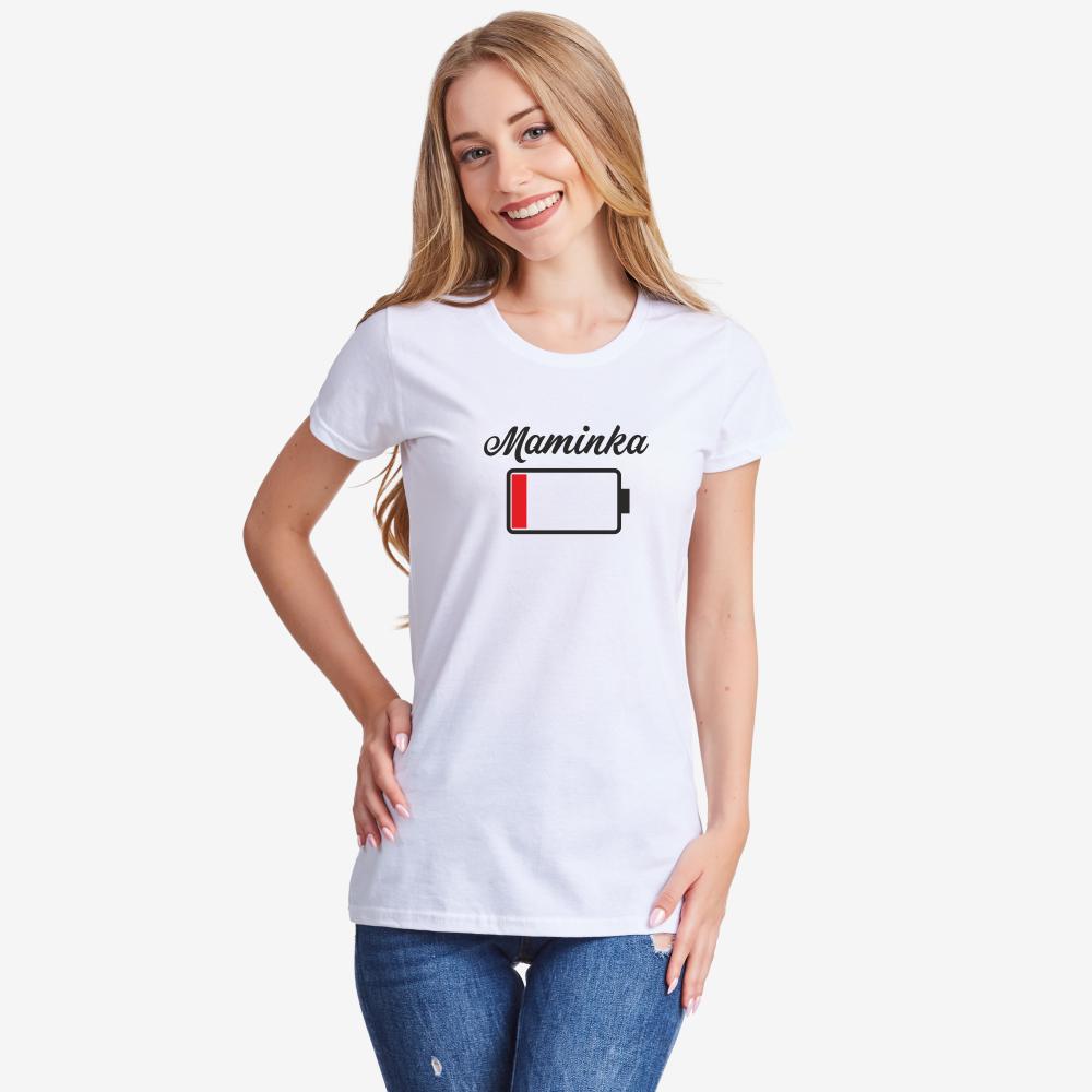 Bílé nebo černé dámské tričko Maminka Battery Low