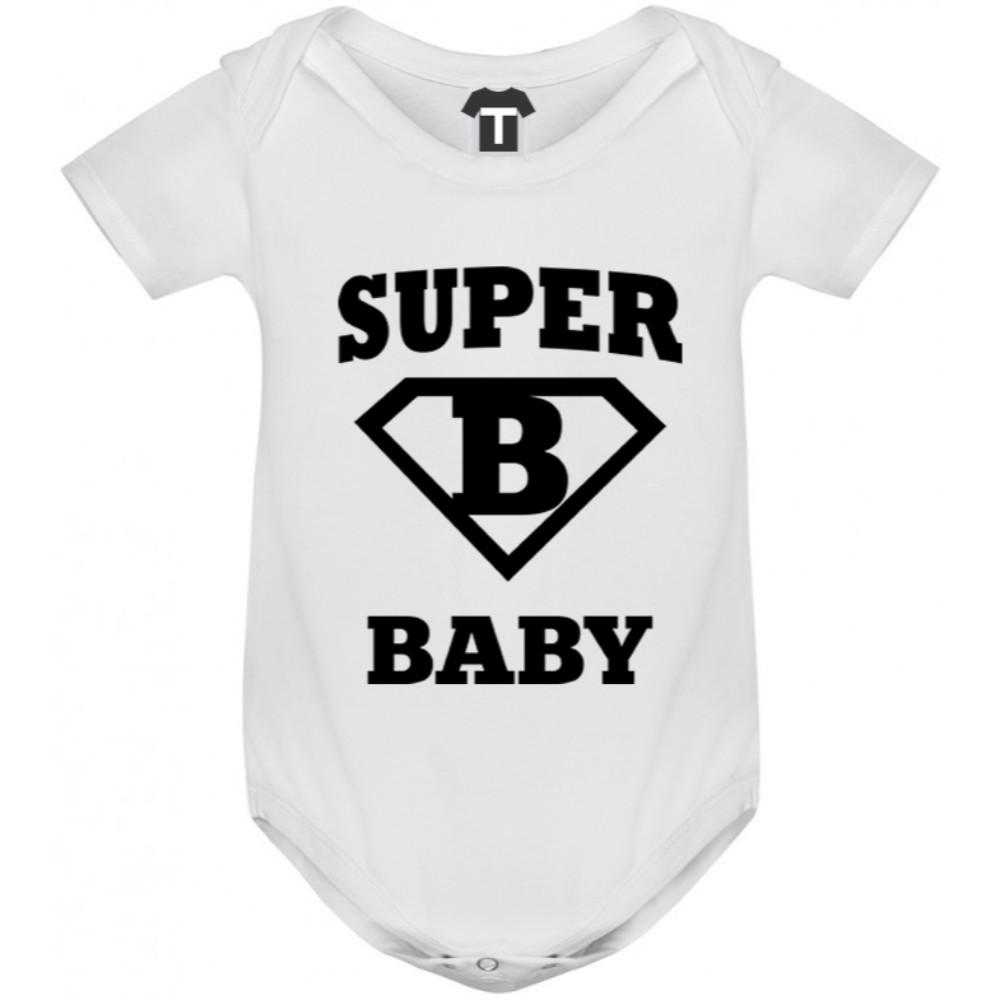 Bílé kojenecké body Super baby