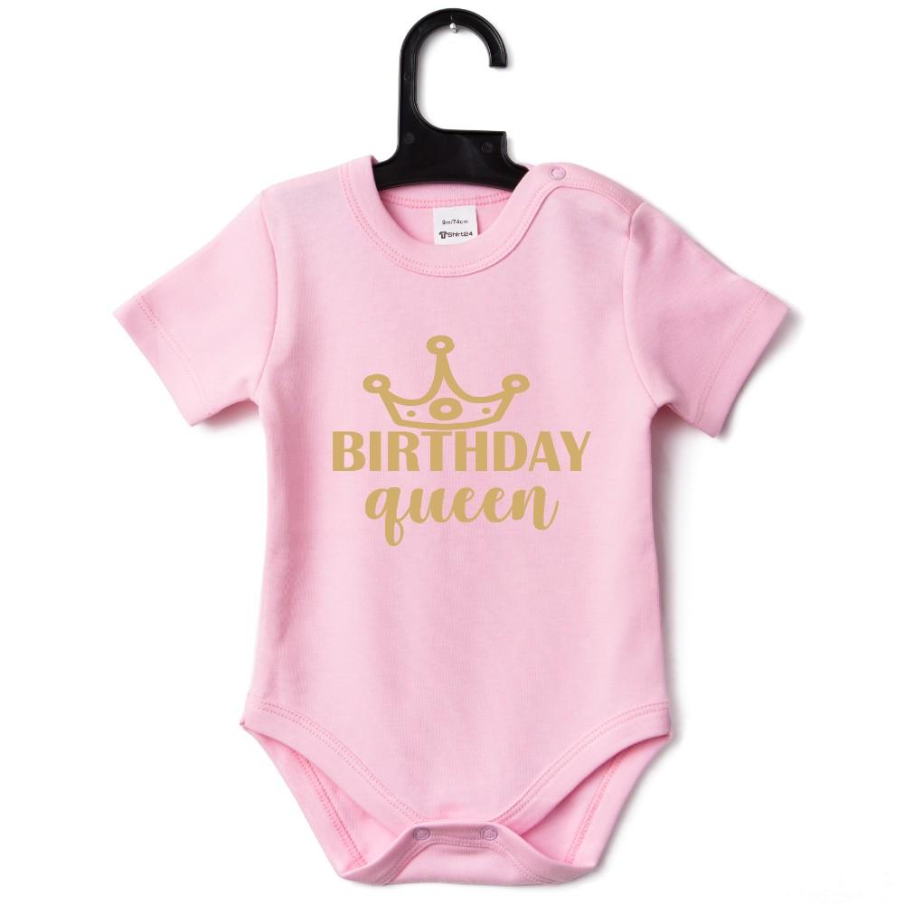 Růžové kojenecké body Birthday Queen