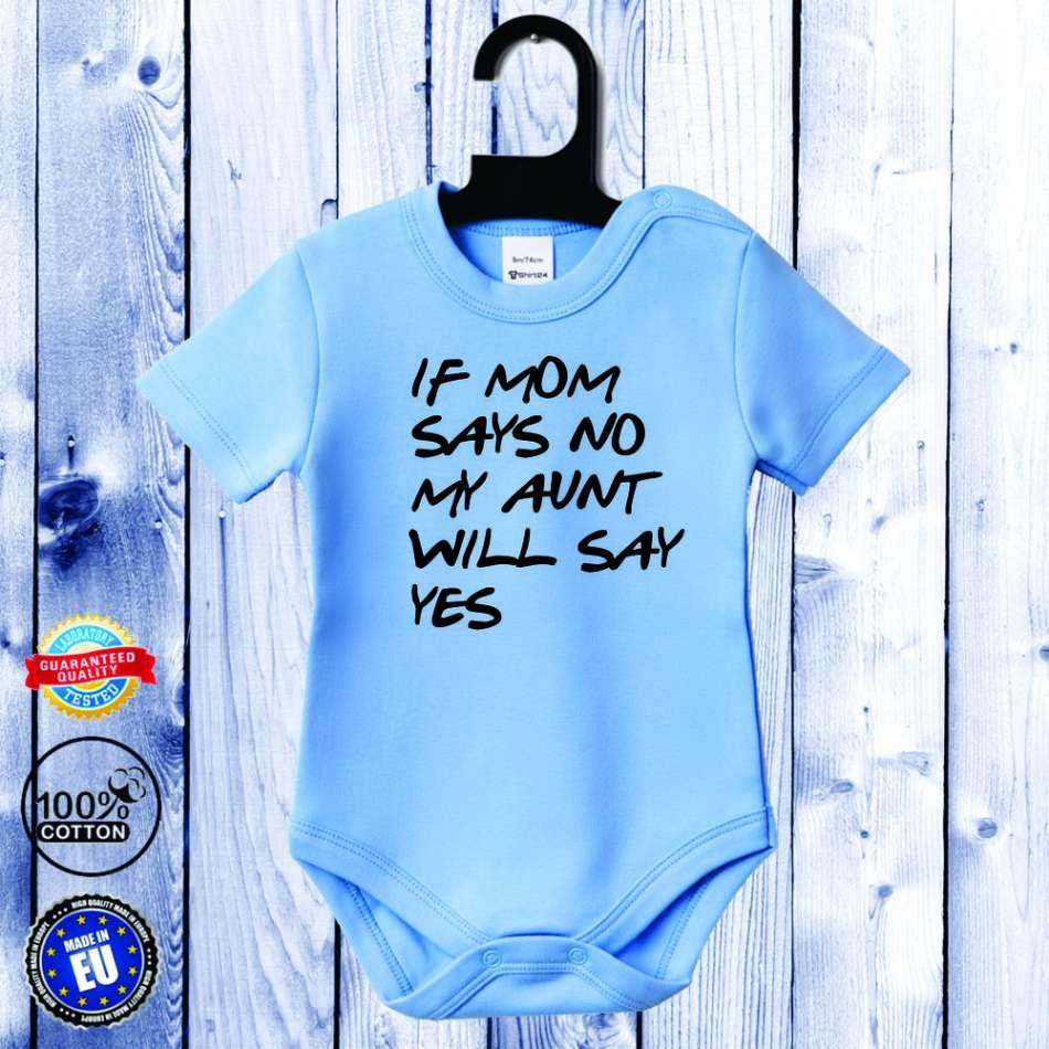 Kojenecké body s krátkým rukávem světlě modré Aunt will say yes D-B-046-B1