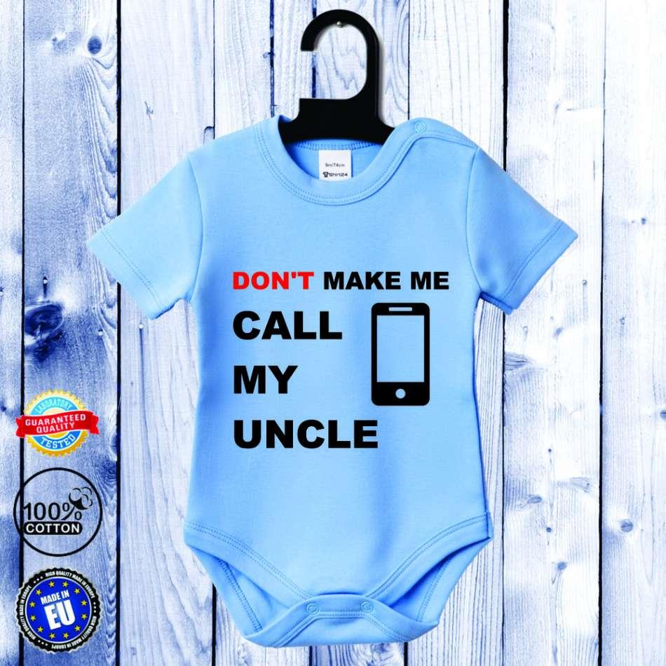 Kojenecké body s krátkým rukávem světlě modré Call my Uncle D-B-056-B1