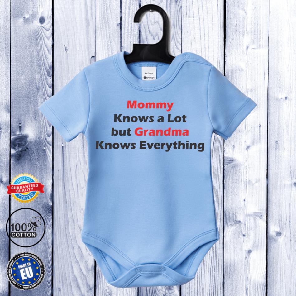 Kojenecké body s krátkým rukávem světlě modré Grandma Knows Everything D-B-062-B1