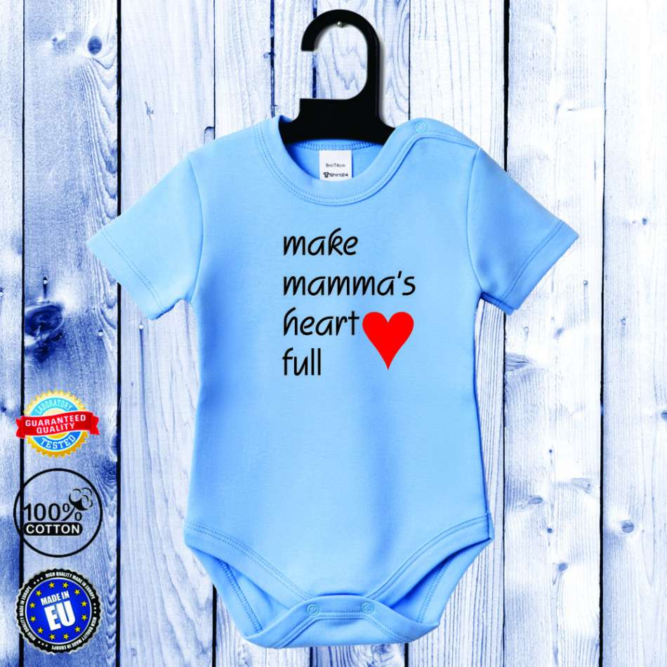 Kojenecké body s krátkým rukávem světlě modré Make mamma's heart full D-B-037-B1