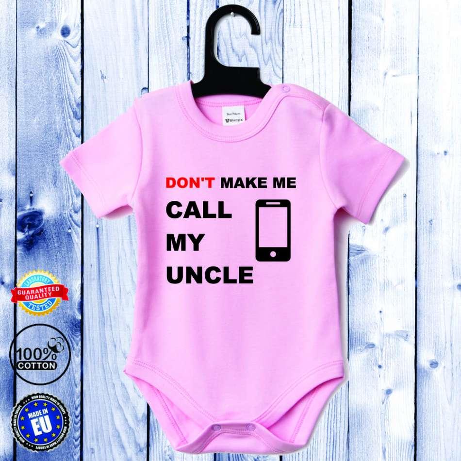 Kojenecké body s krátkým rukávem světle růžové Call my Uncle D-B-056-P1