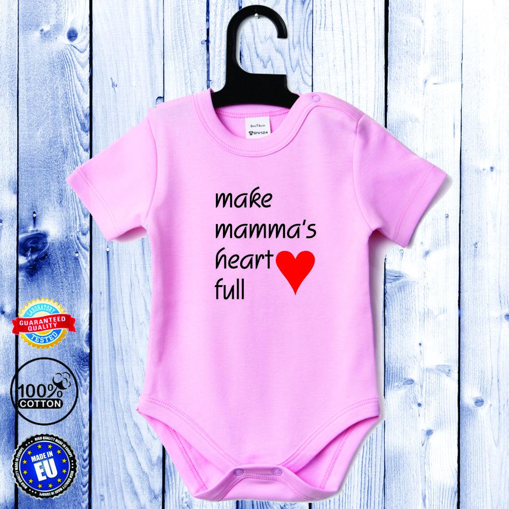 Kojenecké body s krátkým rukávem světle růžové Make mamma's heart full D-B-037-P1