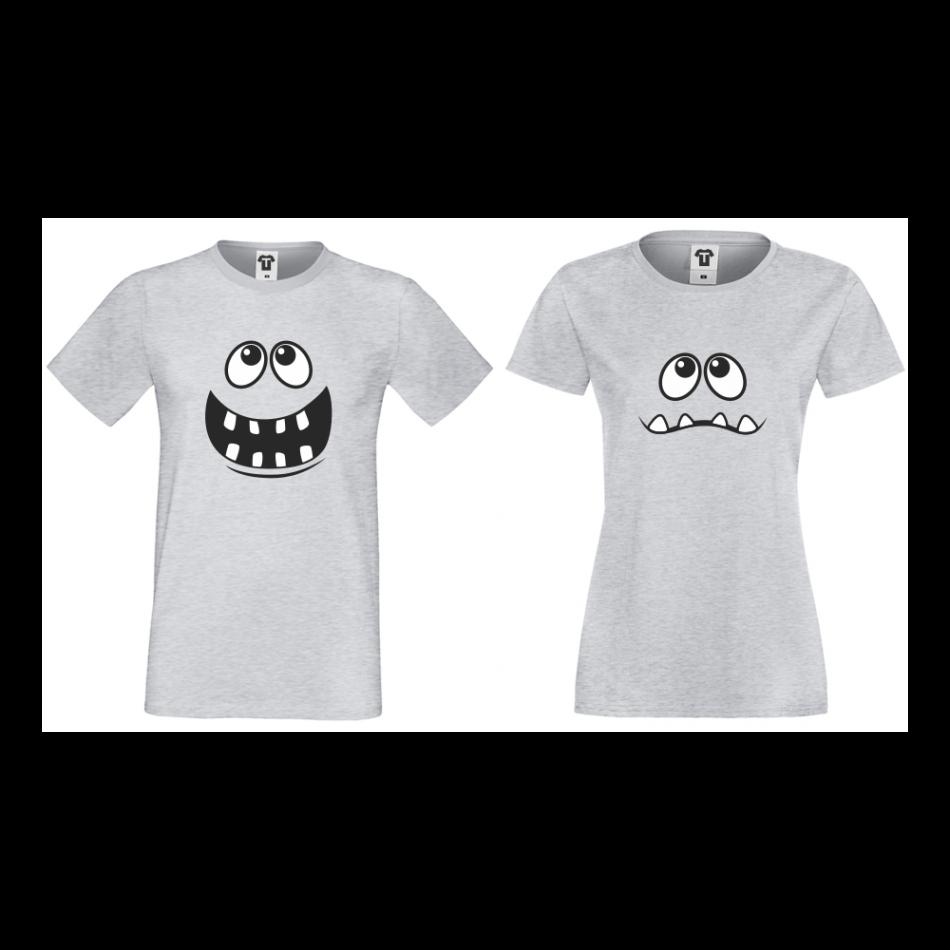 Šedé triko pro páry Big Smile D-CP-012G