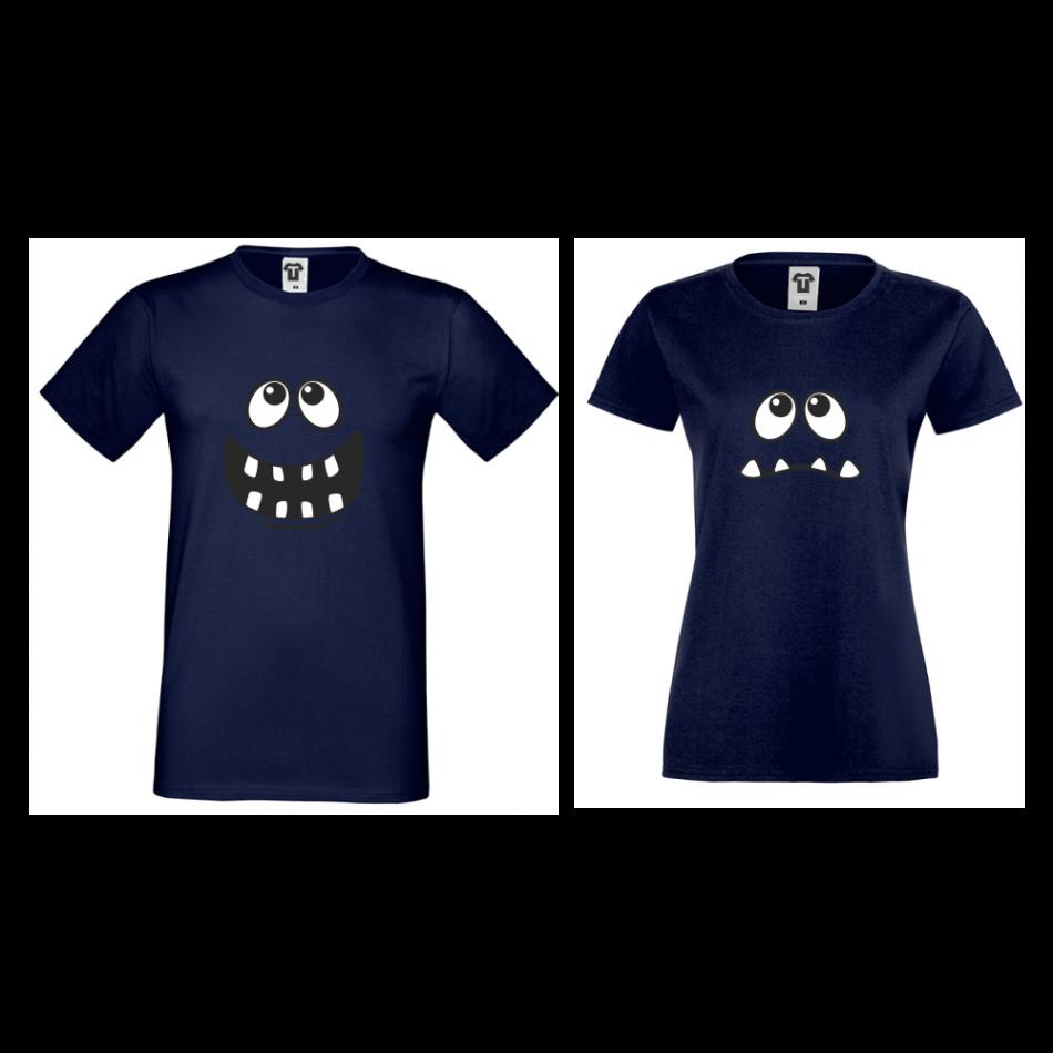 Tmavě modré triko pro páry Big Smile D-CP-012N