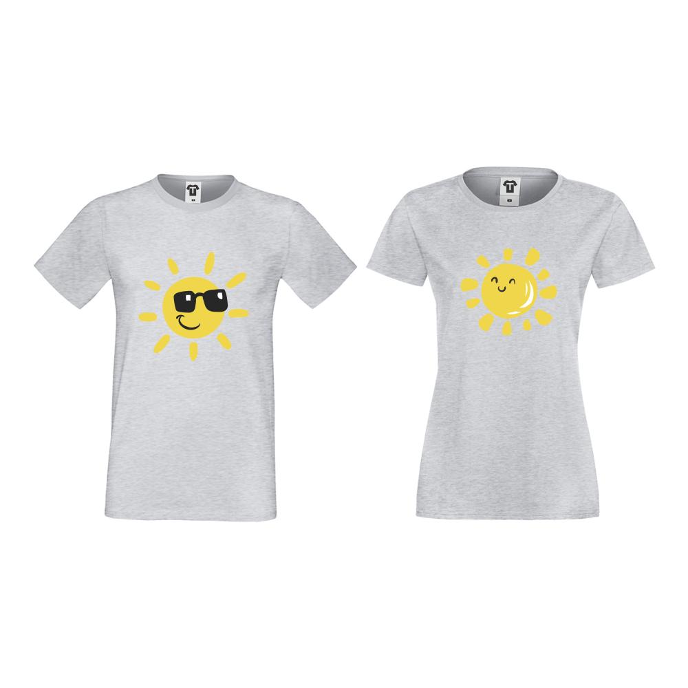 Šedé triko pro páry Sun, Smile and Sunglasses D-CP-036G