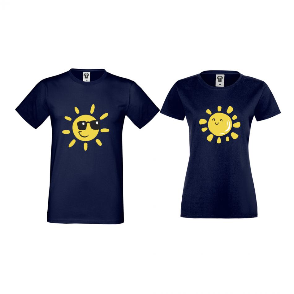 Tmavě modré triko pro páry Sun, Smile and Sunglasses D-CP-036N