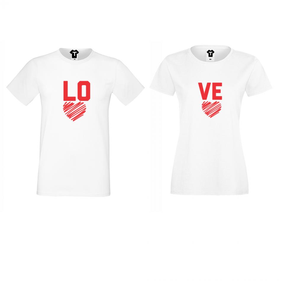 Bílá trička LOVE - LOVE D-CP-050