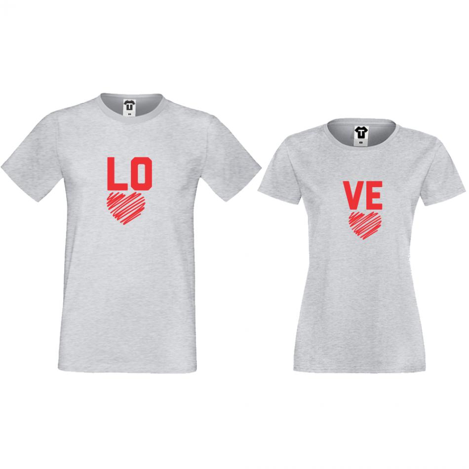Šedá trička pro páry LO - VE D-CP-050G