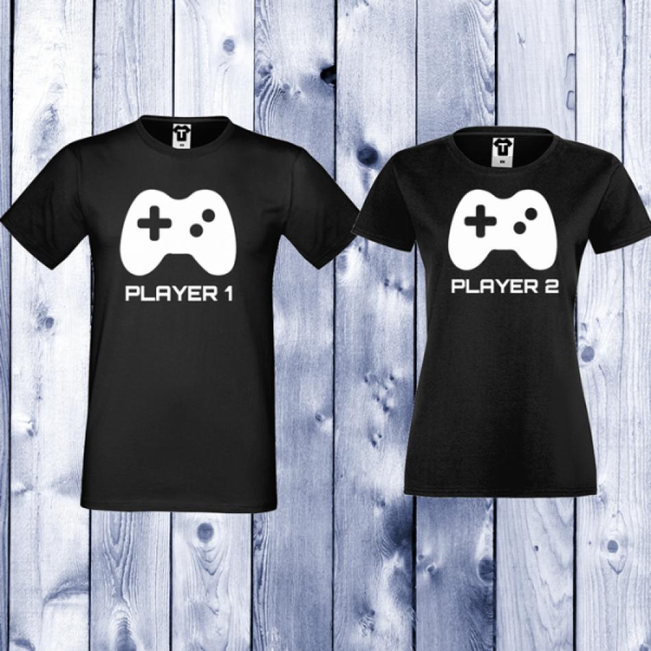 Trička pro páry Černá Player 1 - Player 2 D-CP-052B