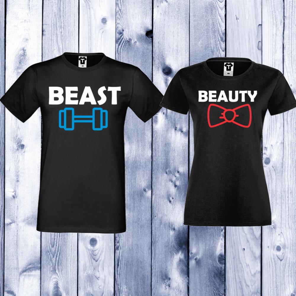 Trička pro páry Černá Beast and Beauty D-CP-065B