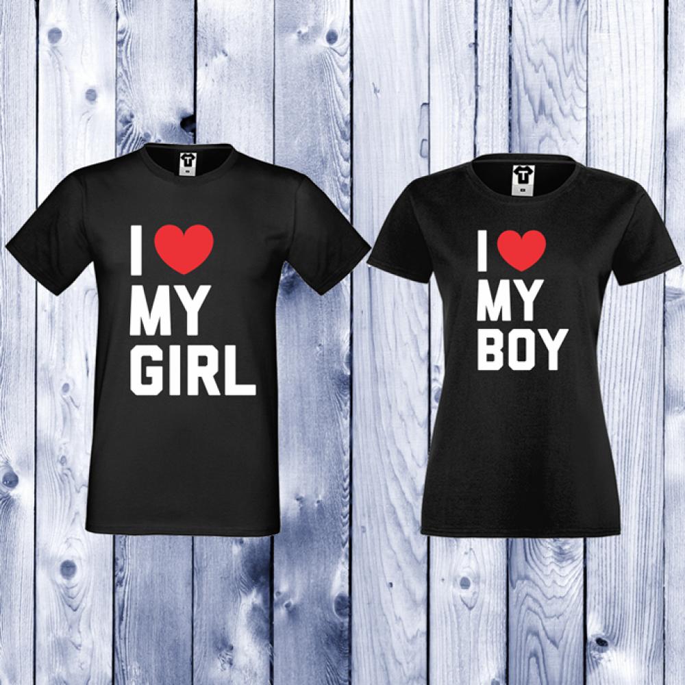Trička pro páry Černá I LOVE MY BOY D-CP-071B