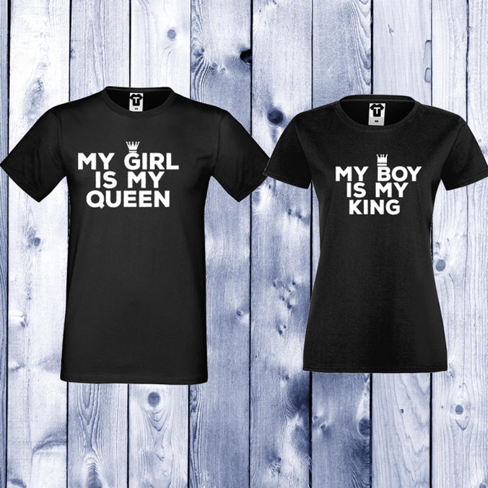 Trička pro páry My Girl Is My Queen Černá D-CP-106B