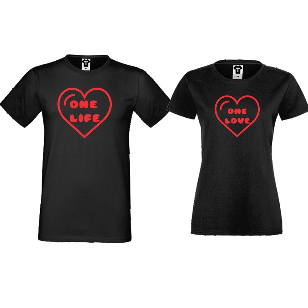 Trička pro páry Černá One Life - One Love D-CP-107B