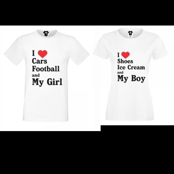 Trička pro páry  I Love Shoes, Ice Cream and My Boy  D-CP-141