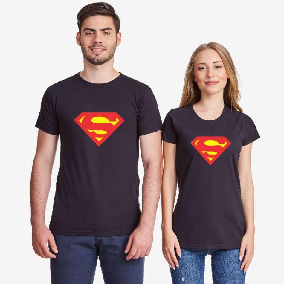 Trička pro páry Černé SuperBoy SuperGirl modrá