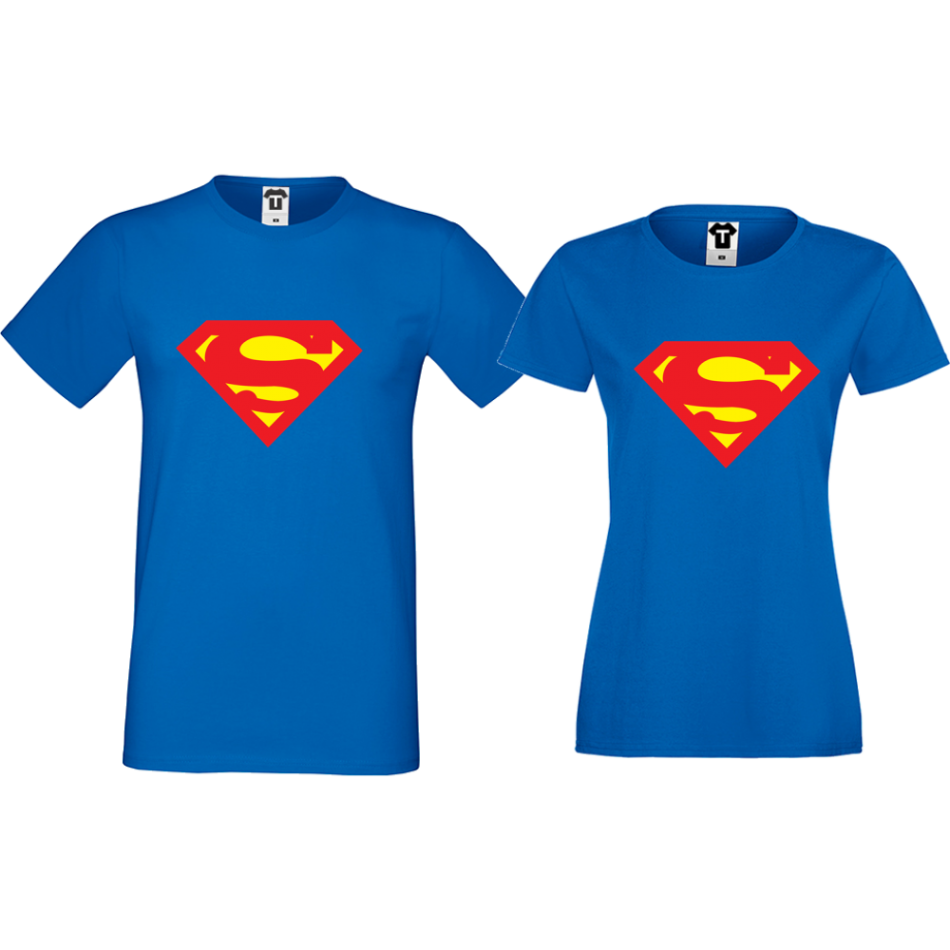 Trička pro pary SuperBoy SuperGirl modrá D-CP-153S