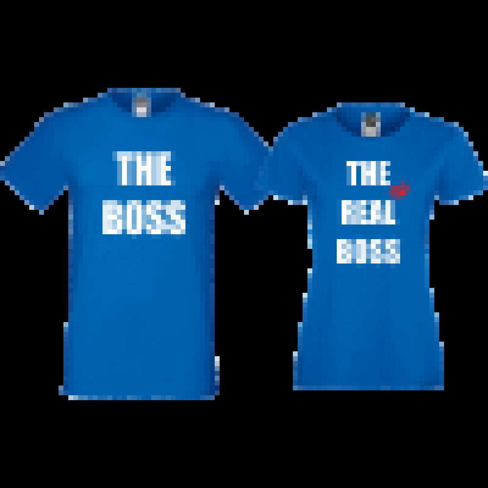 Trička pro páry Modré The Boss The Real Boss D-CP-157S