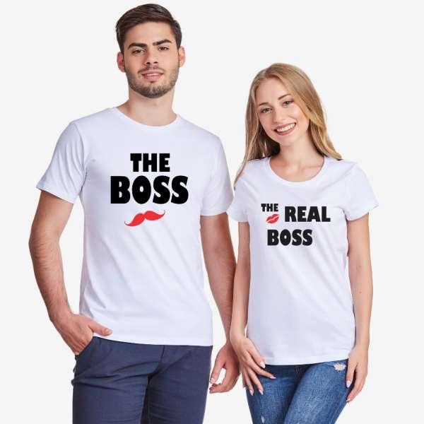 Trička pro pary The Real Boss Kiss D-CP-163
