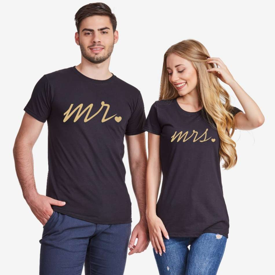 Černá trička pro páry Mr and Mrs Gold