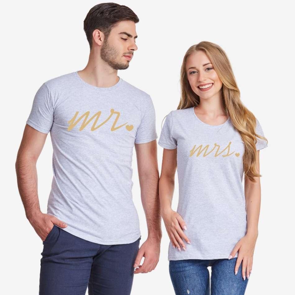 Šedá trička pro páry Mr and Mrs Gold