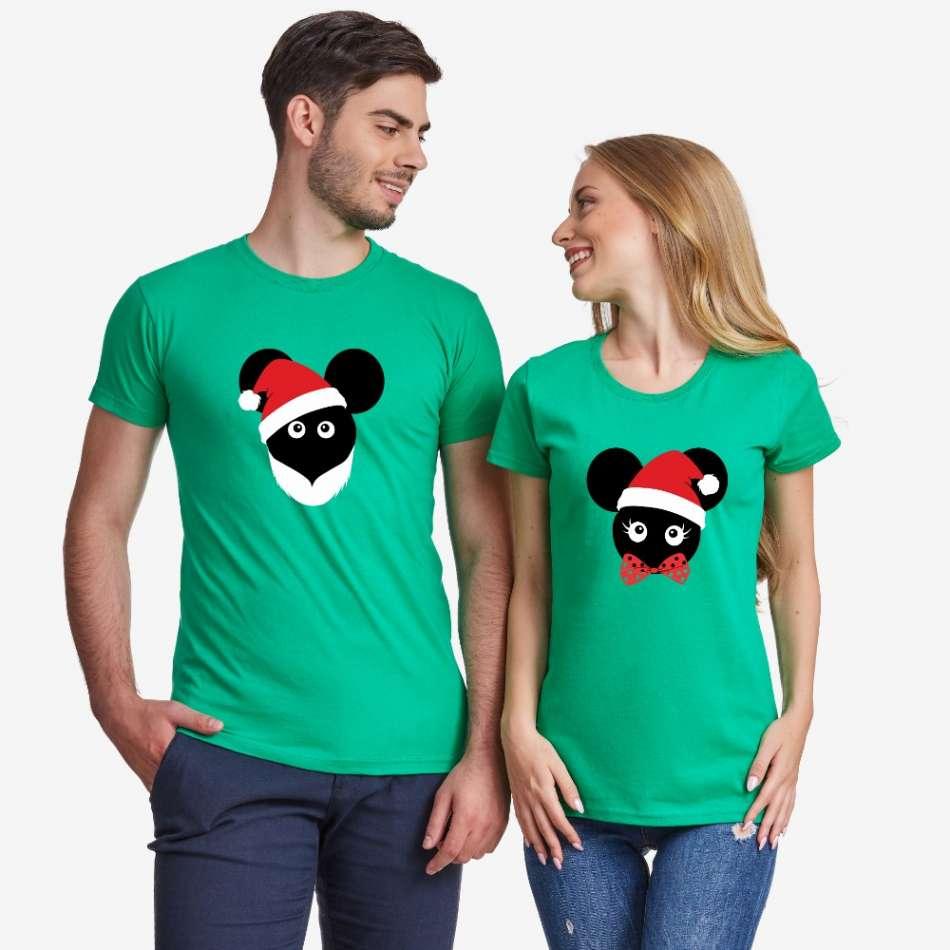 Zelených triček pro páry Christmas Mouse