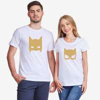Bílá nebo černá trička pro páry Batman and Catwoman