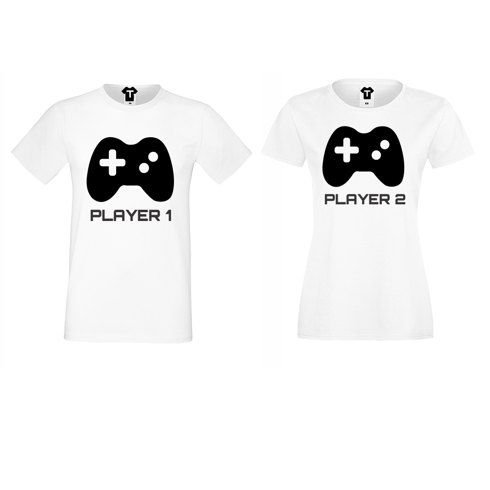 Trička pro páry Player 1 - Player 2 - Bílá D-CP-052