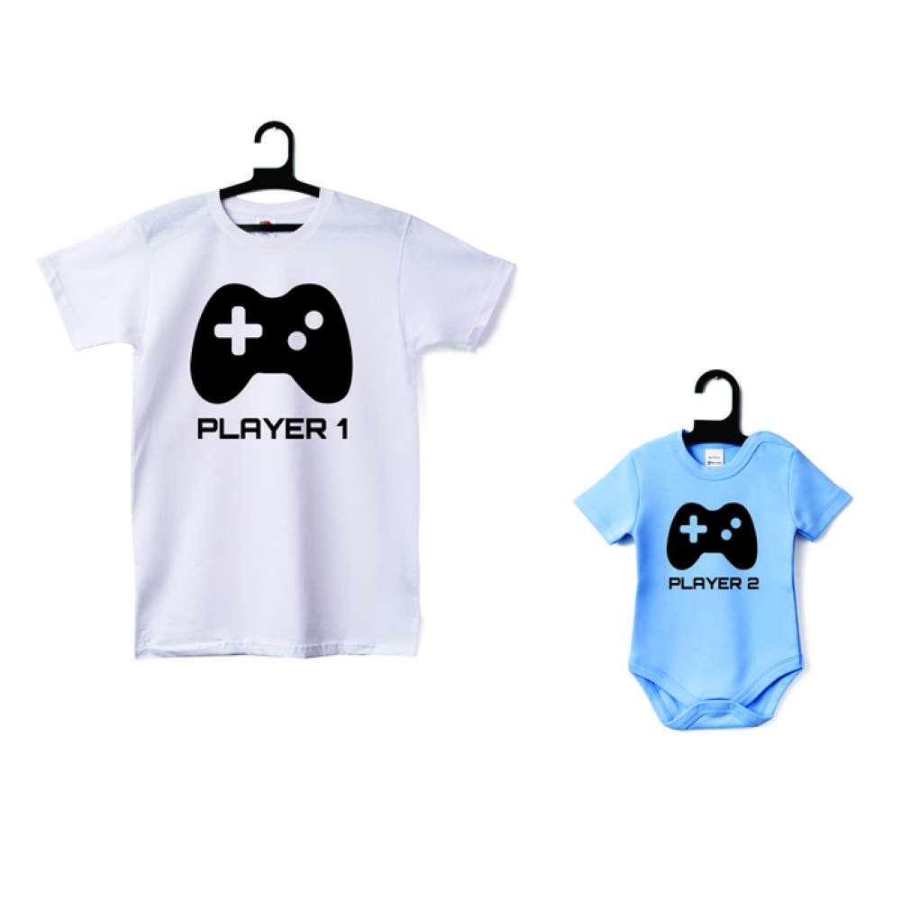 Set pánské tričko a dětské body Player 1 - Player 2 D-CP-052-B1