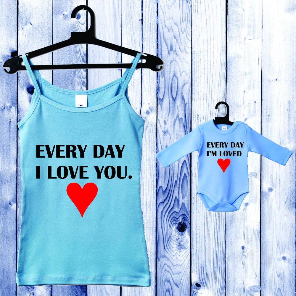 Souprava - Top pro mámu a kojenecké body světlě modrá Everyday I Love you. D-CP-045-B2