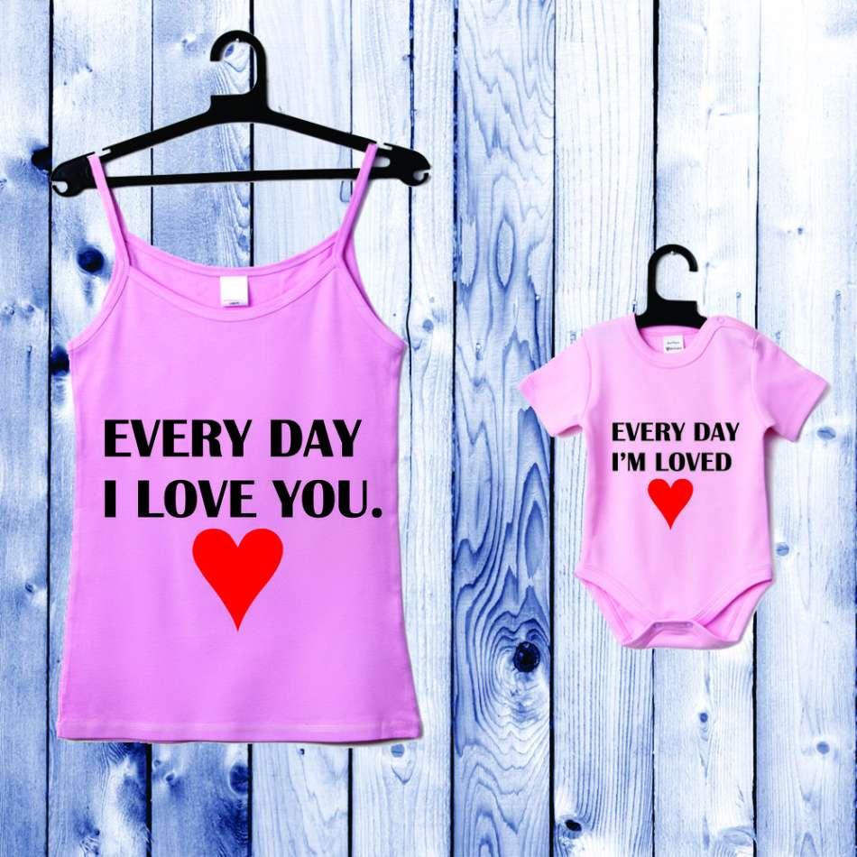 Souprava - Top pro mámu a kojenecké body světle růžové Everyday I Love you. D-CP-045-P1