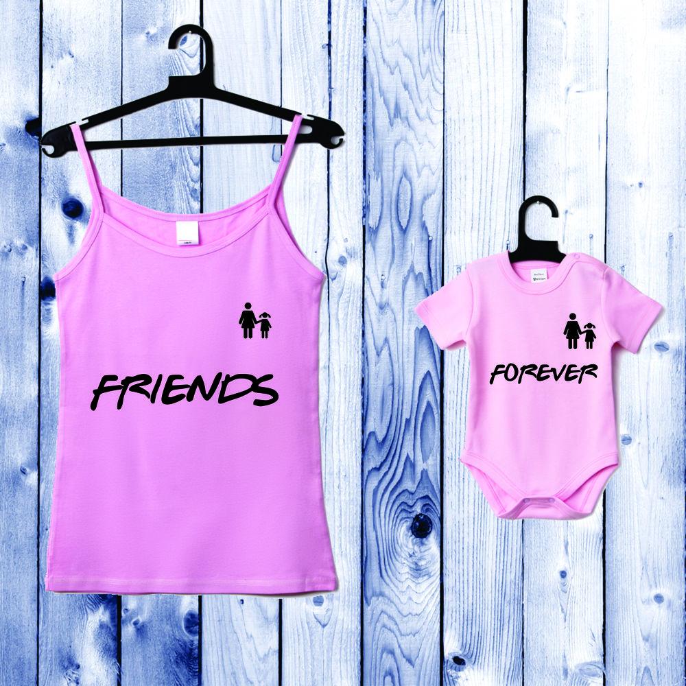 Souprava - Top pro mámu a kojenecké body světle růžové Friends Forever D-CP-055-P1