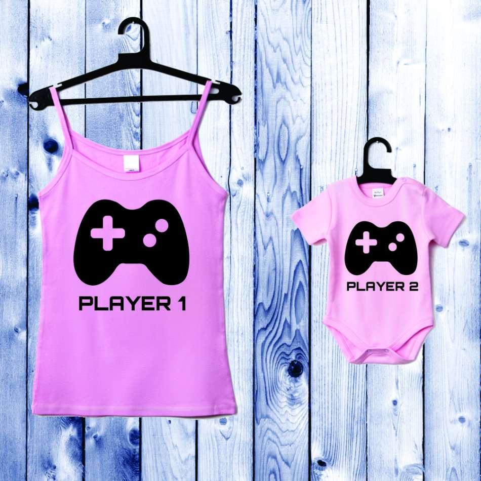 Souprava - Top pro mámu a kojenecké body světle růžové Player 1 - Player 2 D-CP-052-P1