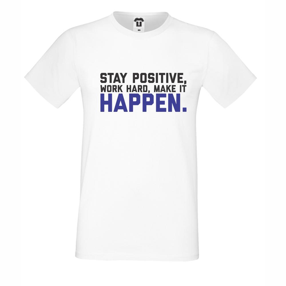 Bílé pánské triko Stay Positive D-M-056