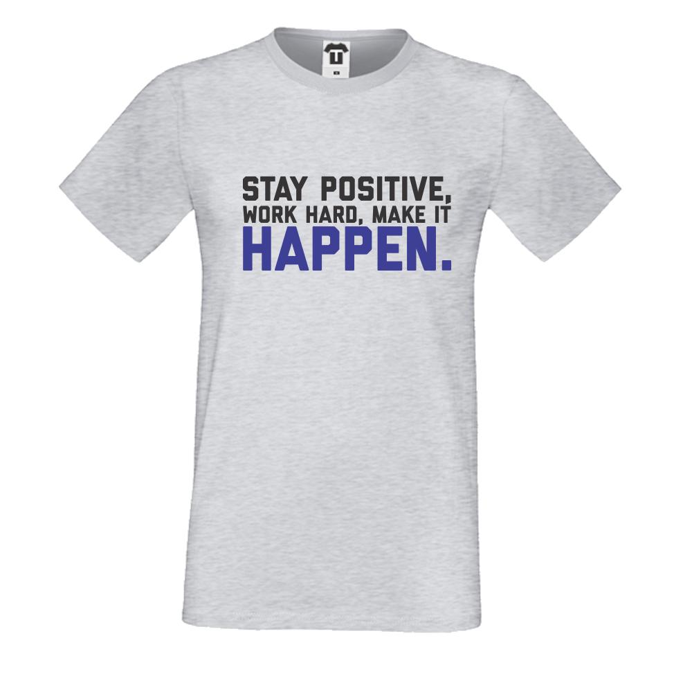 Šedé pánské triko Stay Positive D-M-056G