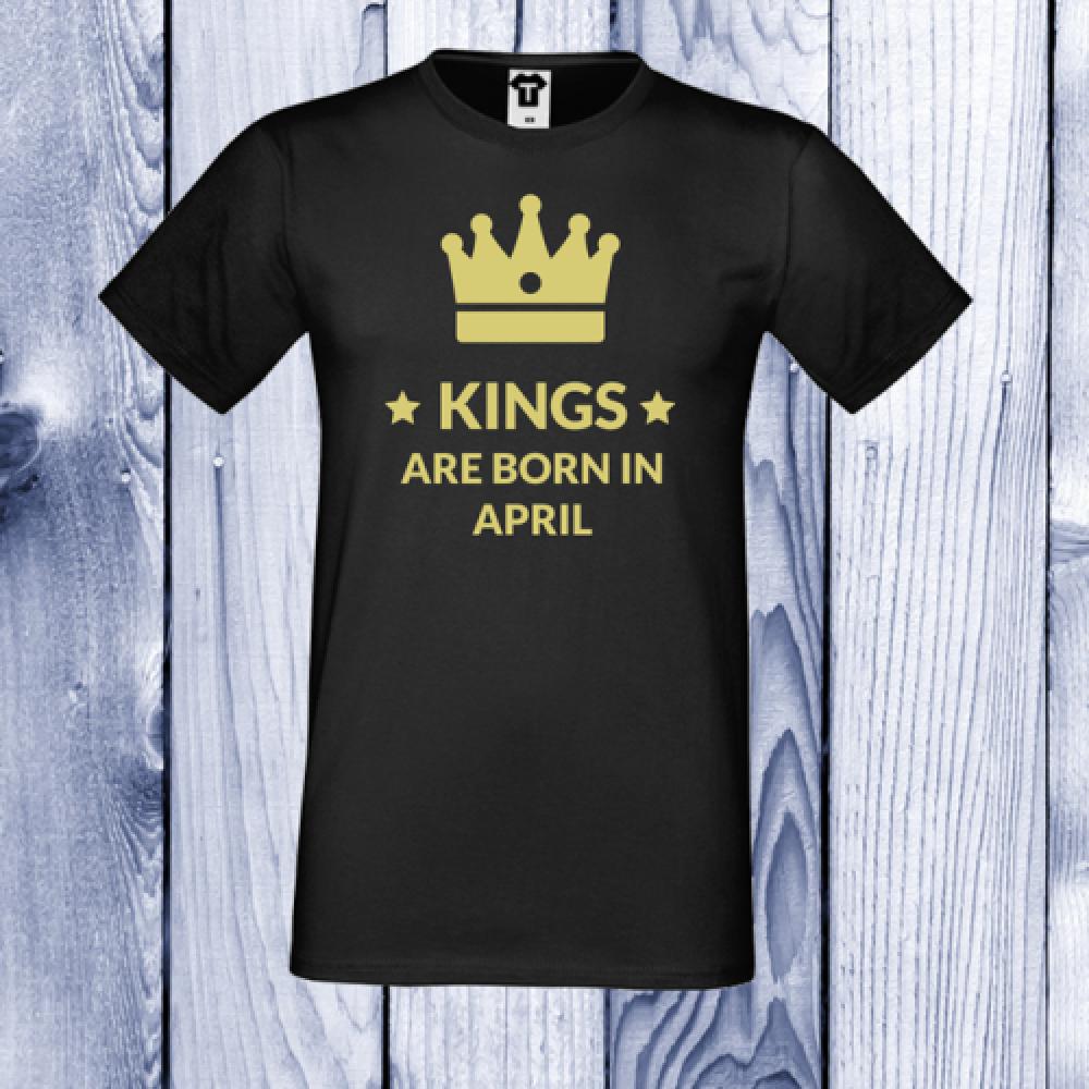 Pánská trička Černá KINGS ARE BORN IN April D-M-100-4