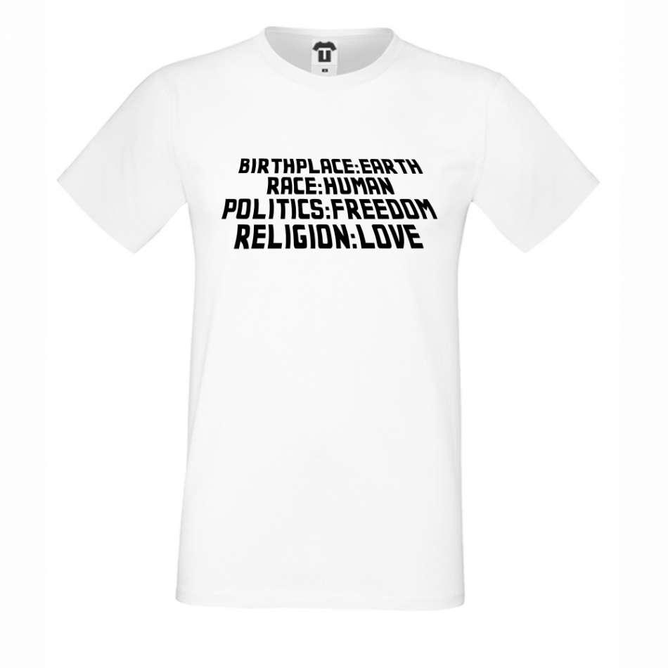 Bílé pánské triko Birthplace: Earth D-M-142