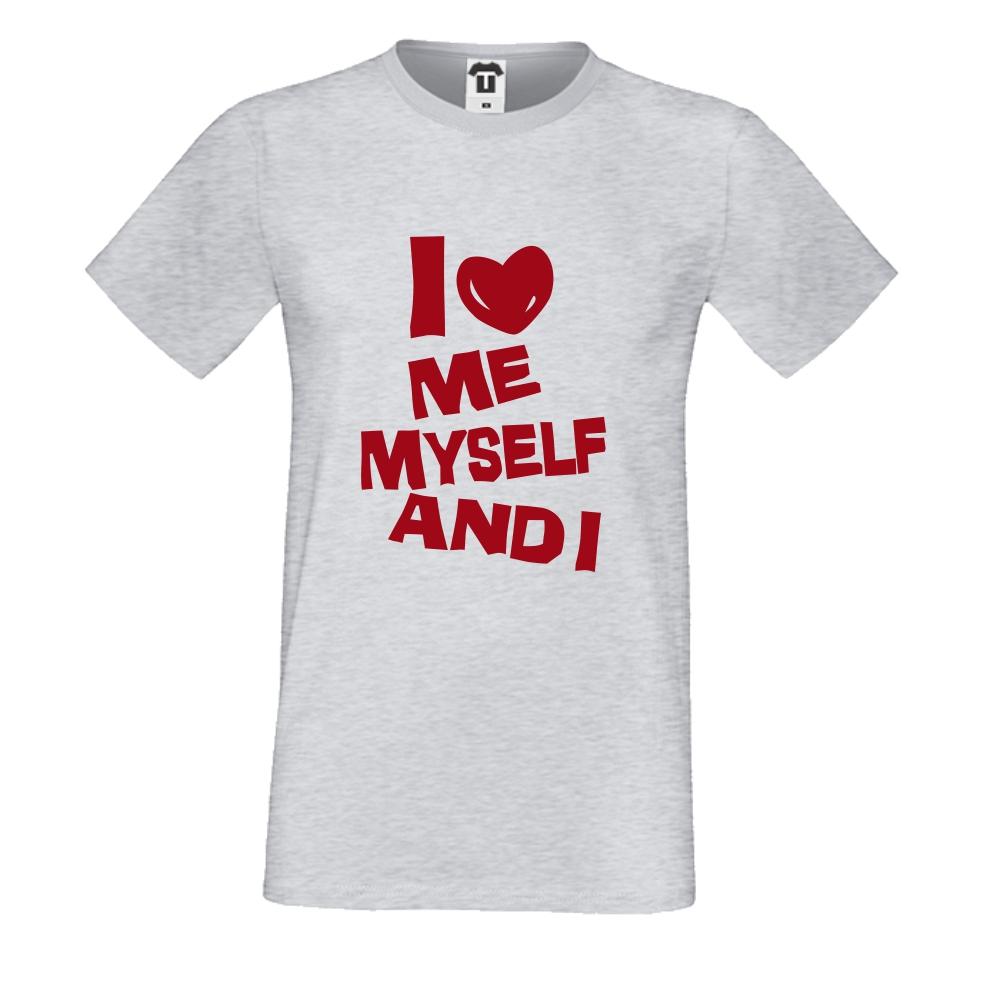 Šedé pánské triko I Love Me D-M-143G