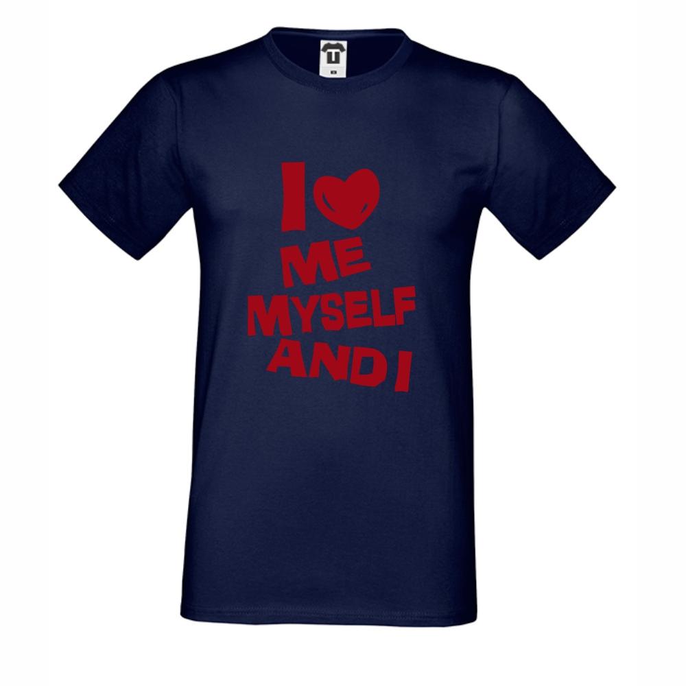 Tmavě modé pánské triko I Love Me D-M-143N