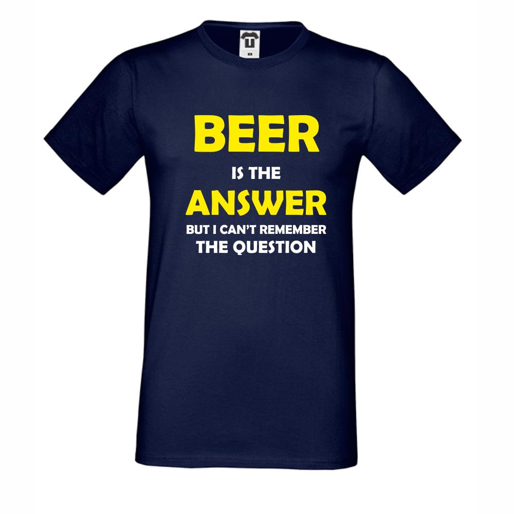 Pánské tričko Tmavé modré Beer is the Answer D-M-209N