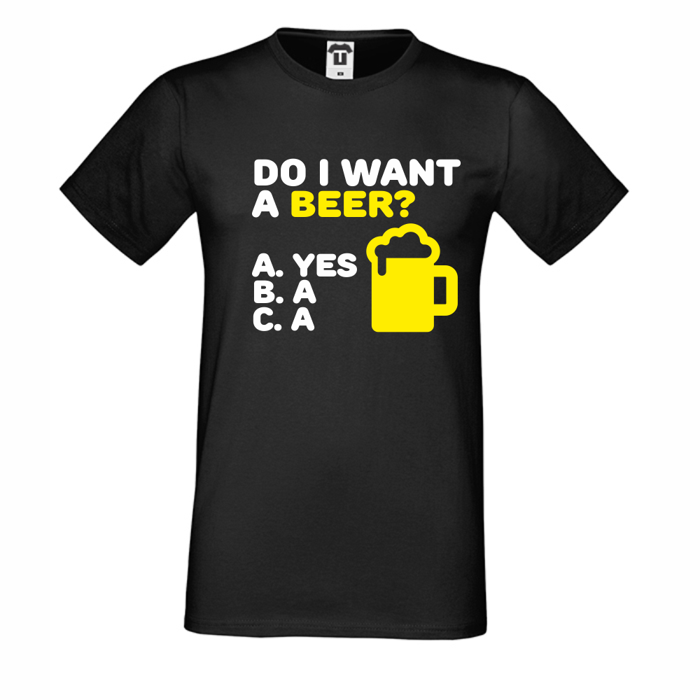 Pánské tričko Černé Do I Want a Beer D-M-212B
