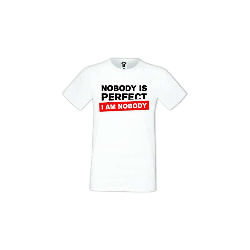 Pánské tričko Bílé Nobody Is Perfect D-M-239