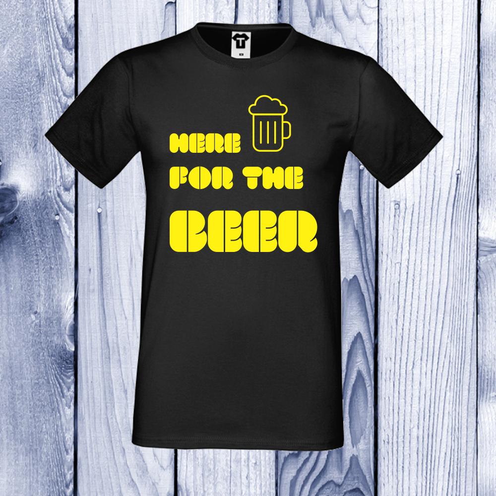 pánská trička Černá Here for Beer D-M-047B
