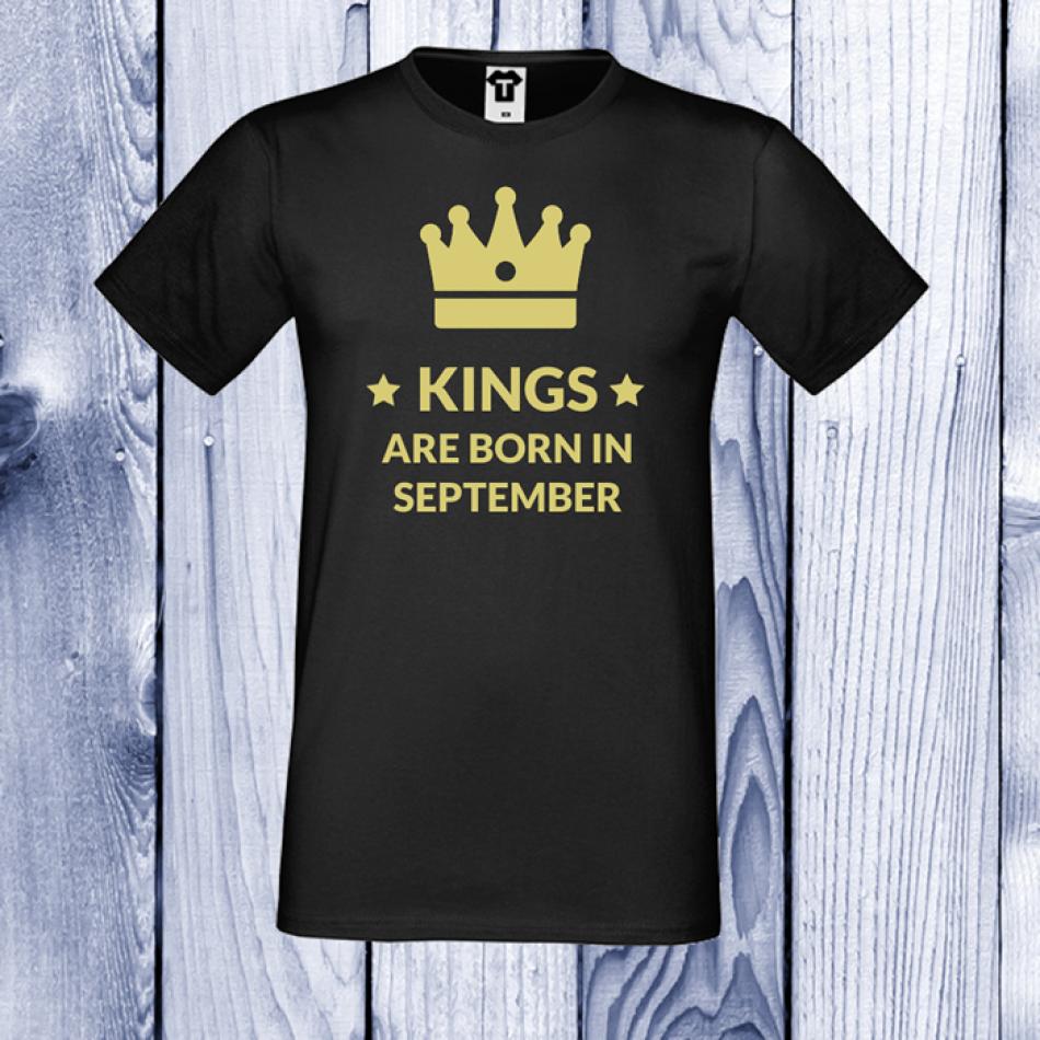 Pánská trička Černá KINGS ARE BORN IN September D-M-100-9