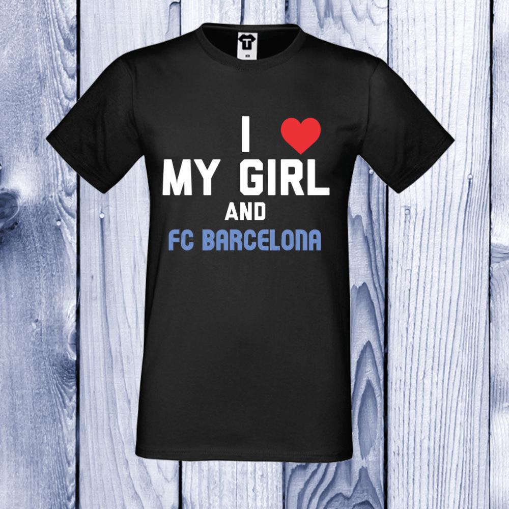 pánská trička Černá My Girl and Barcelona D-M-029B