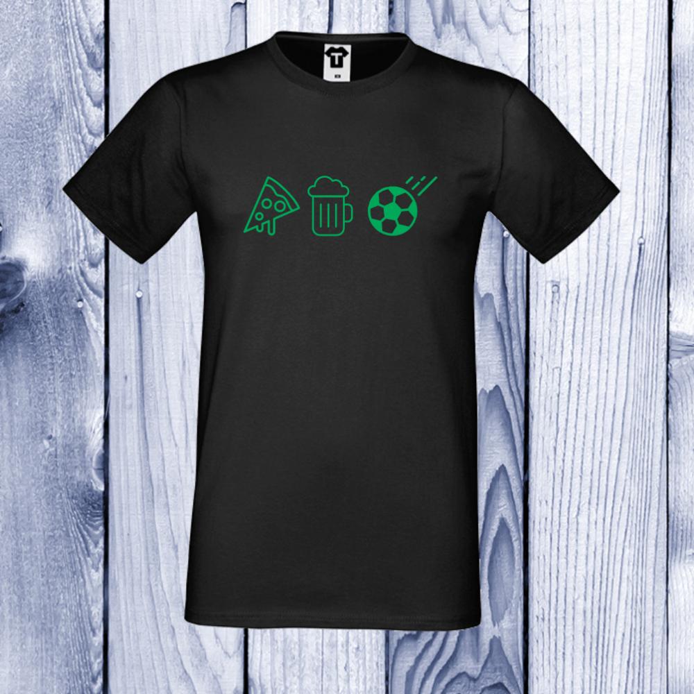 pánská trička Černá Pizza, Beer and Football D-M-026B