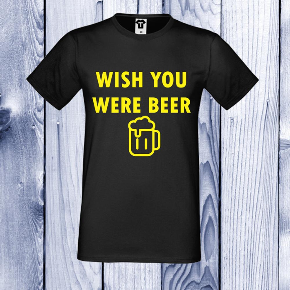 pánská trička ČernáWISH YOU WERE BEER D-M-110B