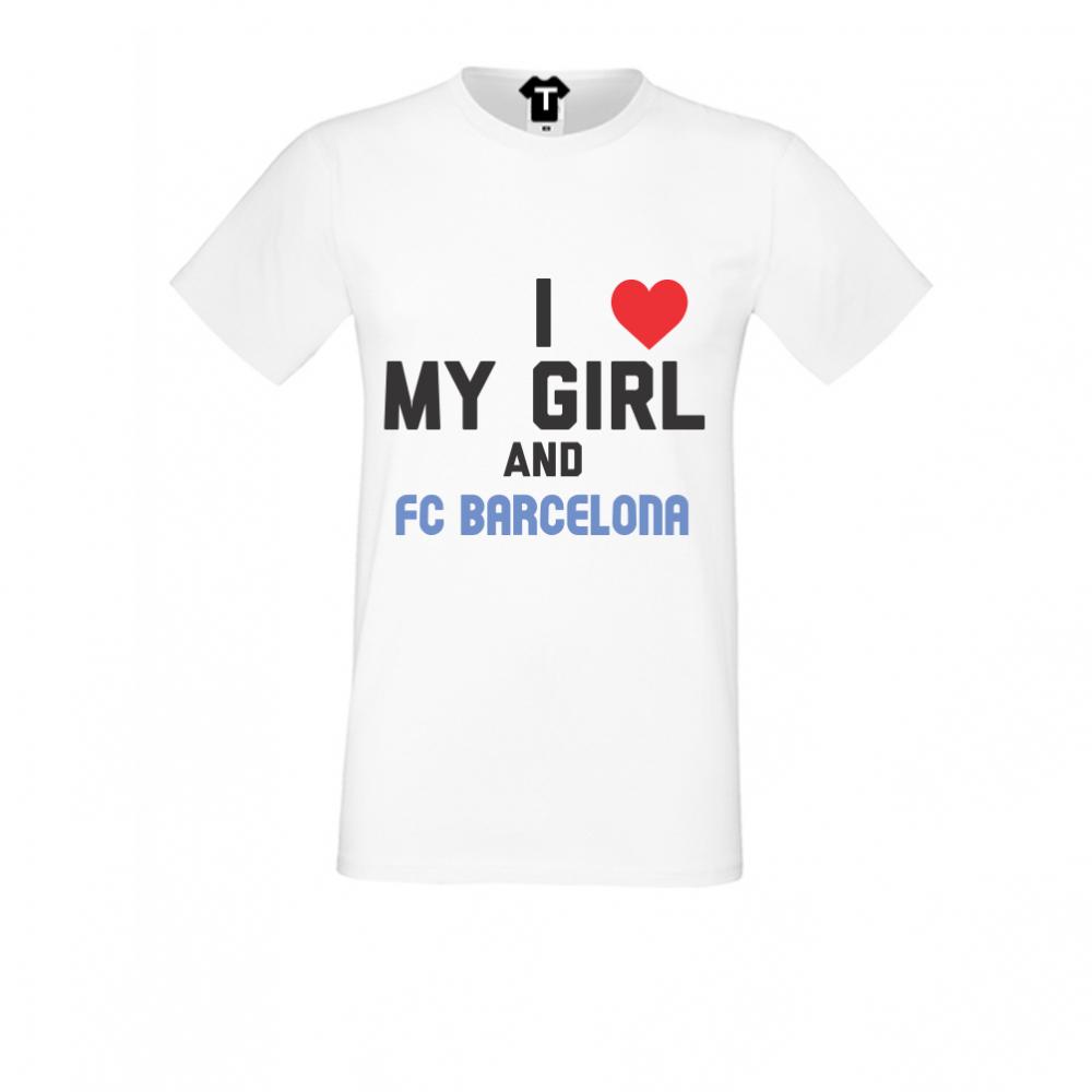 pánská trička Bílá My Girl and Barcelona D-M-029